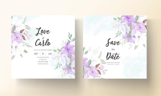 Handgezeichnete schöne lila blumenhochzeitseinladungsschablone