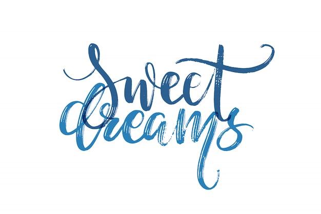 Handgezeichnete schriftzug. süße träume worte von hand.