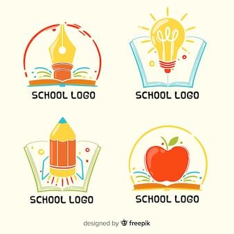 Handgezeichnete schule logo sammlung