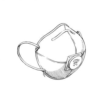 Handgezeichnete schutzmaske