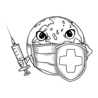 Handgezeichnete schwarz-weiß-illustrationserde mit masken, injektionen und schilden zur bekämpfung von viren