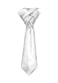 Handgezeichnete schwarz-weiße krawattenvektorillustration