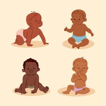 Handgezeichnete schwarze babysammlung