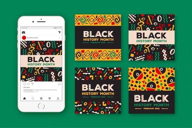 Handgezeichnete schwarze geschichte monat instagram beiträge sammlung