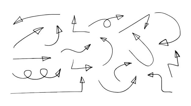 Handgezeichnete schwarze pfeile des pfeilsatzes lokalisiert auf weißem hintergrund