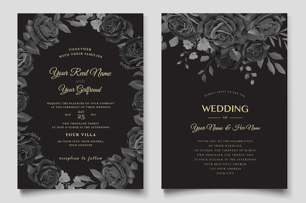 Handgezeichnete schwarze rosen einladungskarte