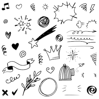 Handgezeichnete set doodle-elemente für das konzeptdesign isoliert auf weißem hintergrund. vektor-illustration.