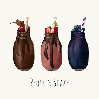 Handgezeichnete set-sammlung der gesunden getränke des protein-shakes