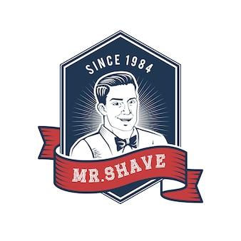 Handgezeichnete shave men logo