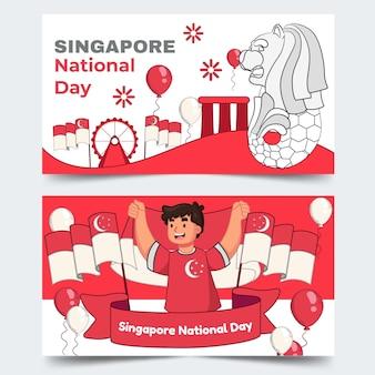 Handgezeichnete singapur national day banner set