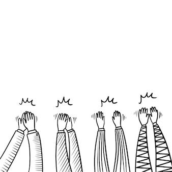 Handgezeichnete skizze applaus, daumen hoch geste. menschliche hände, die ovationen klatschen. auf doodle-stil, vektor-illustration.