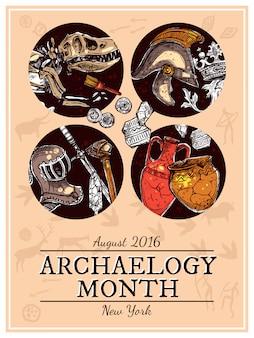 Handgezeichnete skizze archäologie illustration