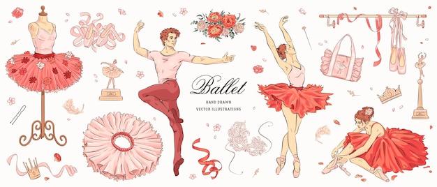 Handgezeichnete skizze ballett-set