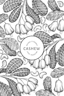 Handgezeichnete skizze cashew-design-vorlage