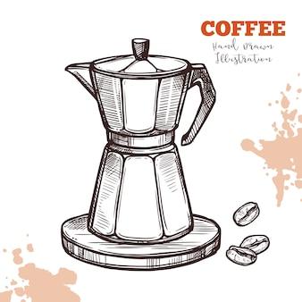 Handgezeichnete skizze der italienischen moka-kaffeemaschine