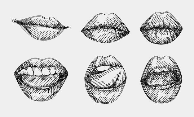 Handgezeichnete skizze der lippen gesetzt. satz lächelnder lippen, lippen, die eine zunge lecken, lippen küssen, lächeln mit geöffnetem mund, ernste lippen, sexy lippen, verführerische lippen.