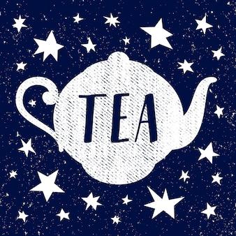 Handgezeichnete skizze der teekanne mit stern. vektor-illustration
