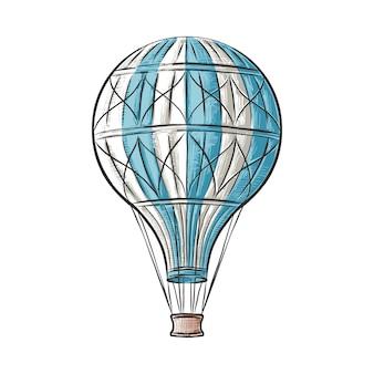 Handgezeichnete skizze des heißluftballons in bunten isolierten