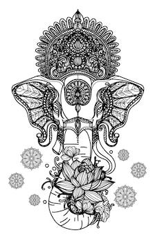 Handgezeichnete skizze ganesh chaturthi schwarz und weiß