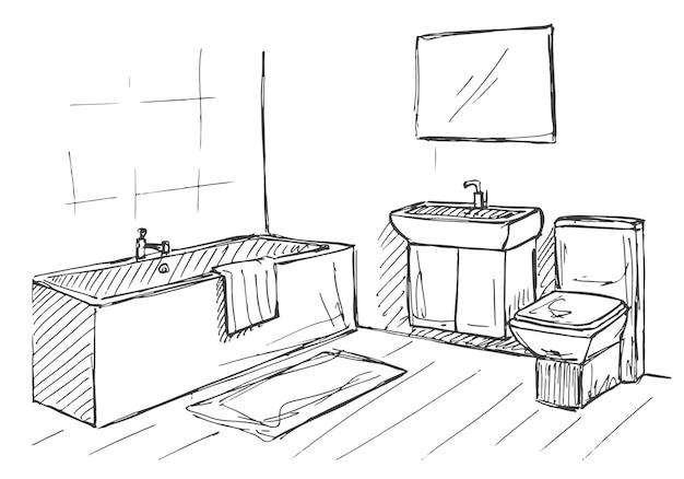 Handgezeichnete skizze. lineare skizze eines innenraums. teil des badezimmers. vektor-illustration