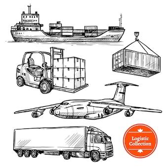 Handgezeichnete skizze logistik set