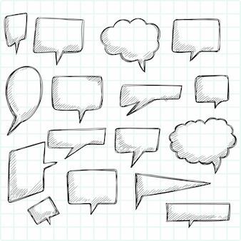 Handgezeichnete skizze sprechblase set