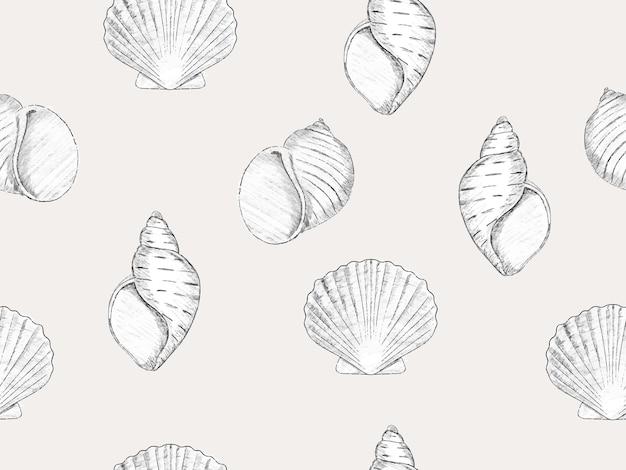 Handgezeichnete skizze stil kochsalzlösung nahtlose muster modetapete mit muschel jakobsmuschel molluske