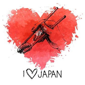 Handgezeichnete skizze sushi illustration mit spritzer aquarell herzen. ich liebe japan