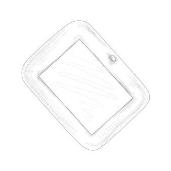 Handgezeichnete skizze tablet in schwarz-weißer farbvektorillustration