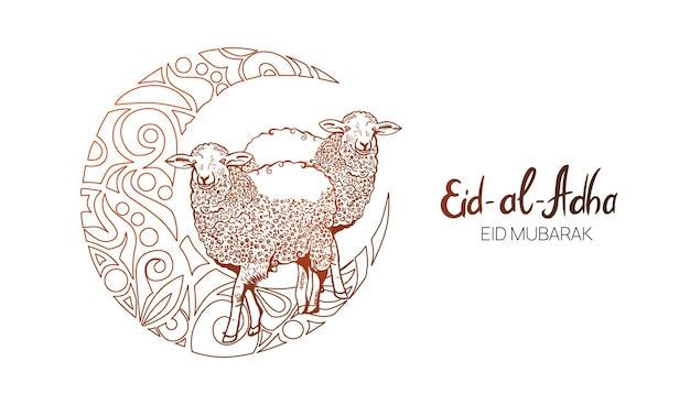 Handgezeichnete skizze von schafen und islamischer moschee mit dekorativem halbmond zu festlichen bannern von eid-al-fitr. vektorillustration zu muslimischen feiertagen.