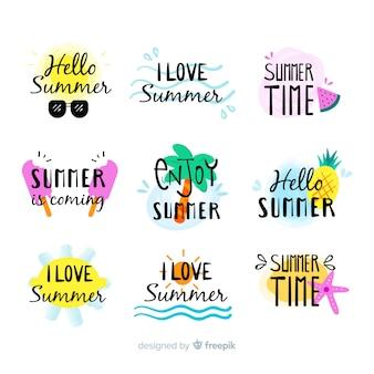 Handgezeichnete sommer abzeichen collectio