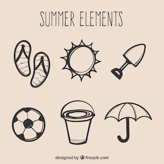 Handgezeichnete sommer-element-kollektion