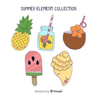 Handgezeichnete sommer element sammlung