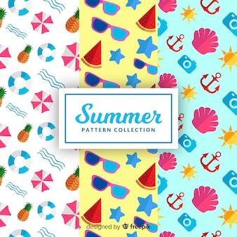 Handgezeichnete sommer-muster-kollektion