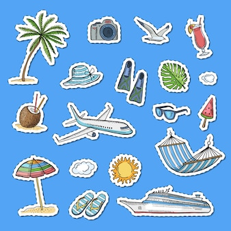 Handgezeichnete sommer reisen elemente aufkleber set