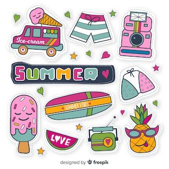 Handgezeichnete sommer sticker pack