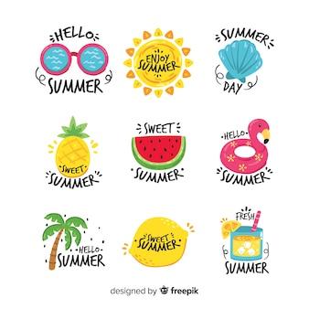 Handgezeichnete sommer sticker sammlung