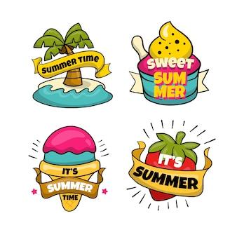 Handgezeichnete sommeretiketten