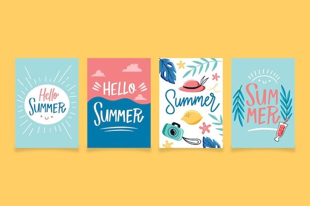 Handgezeichnete sommerkartensammelschablone