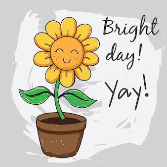 Handgezeichnete sonnenblume für t-shirt