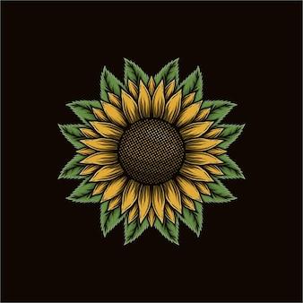 Handgezeichnete sonnenblume mit blättern-vektor-illustration