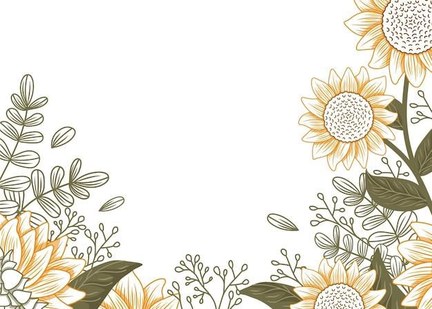 Handgezeichnete sonnenblumengrenze mit leerem raum