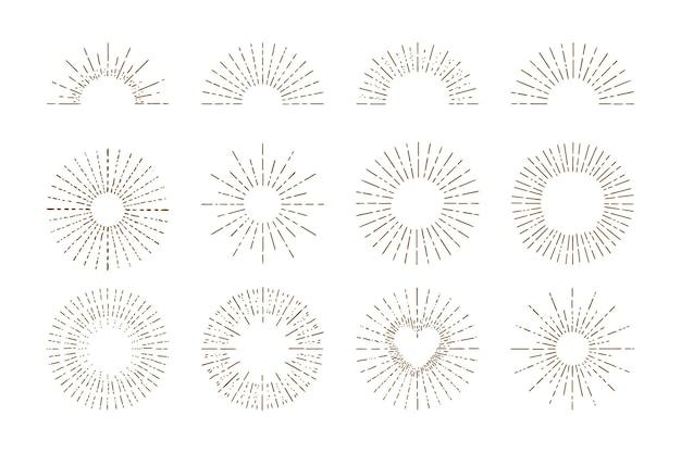 Handgezeichnete sonnendurchbrüche-kollektion