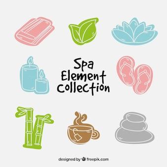 Handgezeichnete spa-elemente