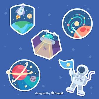 Handgezeichnete space sticker pack