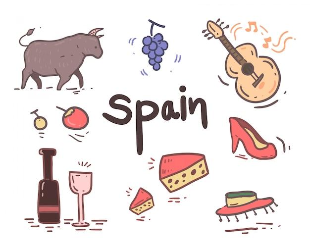 Handgezeichnete spanien symbole
