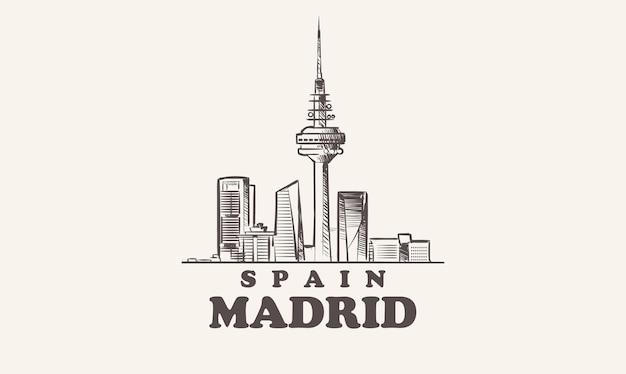Handgezeichnete spanische illustration der madrider stadtbildskizze