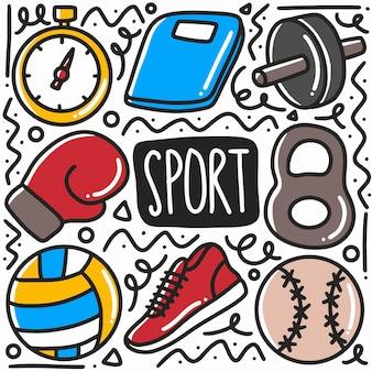 Handgezeichnete sportausrüstung gekritzel gesetzt mit symbolen und designelementen