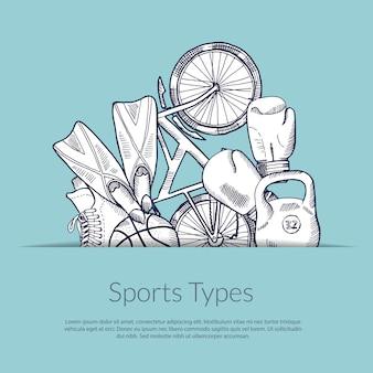 Handgezeichnete sportgeräte