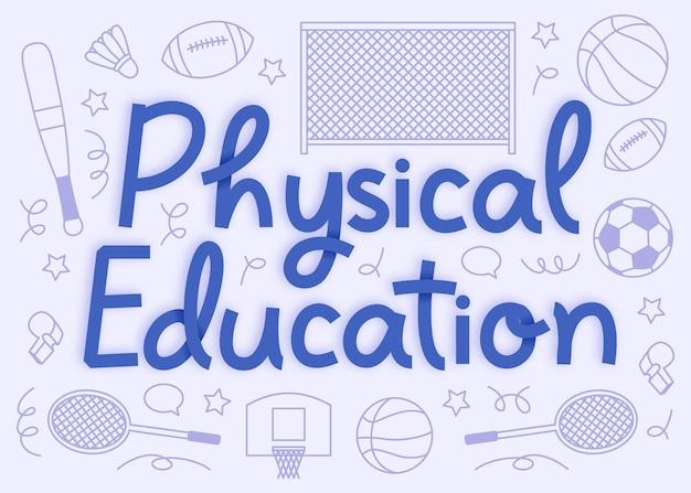 Handgezeichnete sportunterricht tag schriftzug